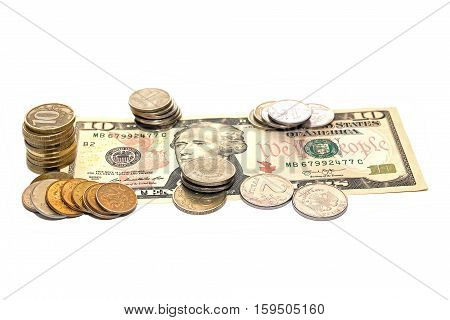 Russian coins on a banknote 10 dollars
