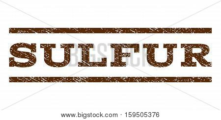 Sulfur watermark stamp. Text tag between horizontal parallel lines with grunge design style. Rubber seal brown stamp with dirty texture. Vector ink imprint on a white background.