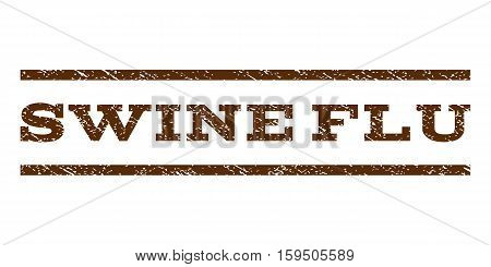 Swine Flu watermark stamp. Text tag between horizontal parallel lines with grunge design style. Rubber seal brown stamp with dirty texture. Vector ink imprint on a white background.