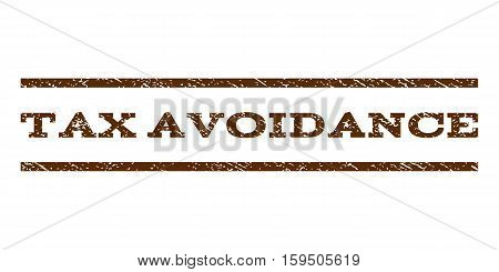 Tax Avoidance watermark stamp. Text tag between horizontal parallel lines with grunge design style. Rubber seal brown stamp with unclean texture. Vector ink imprint on a white background.