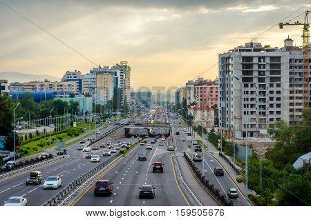 ALMATY KAZAKHSTAN - JULY 13: View over Al Farabi avenue one of the main roads in the city. July 2016