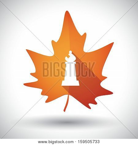 Isolated Orange Leaf With A Bishop    Chess Figure