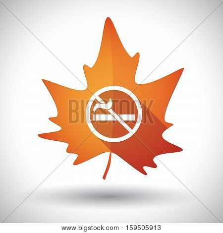 Isolated Orange Leaf With  A No Smoking Sign