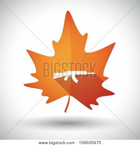Isolated Orange Leaf With  A Machine Gun Sign