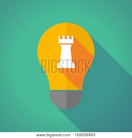Long Shadow Bulb With A  Rook   Chess Figure
