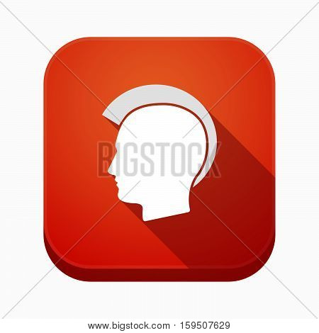 Isolated App Icon With  A Male Punk Head Silhouette