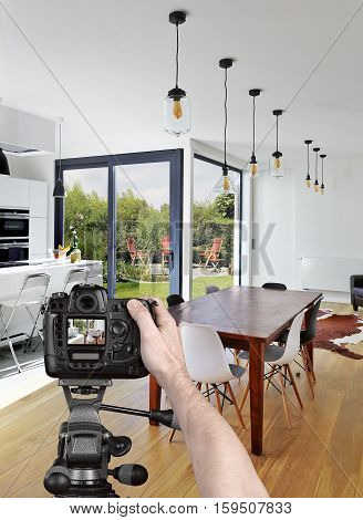 Taking Picture In Luxury Living Room