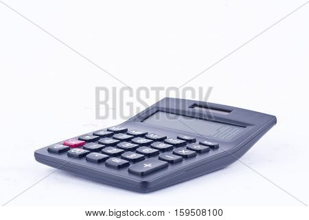 calculator for calculating the numbers accounting accountancy business calculation  on white background isolated (side view)
