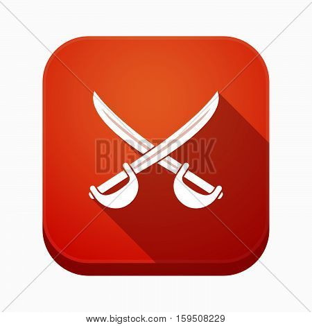 Isolated App Button With  Two Swords Crossed