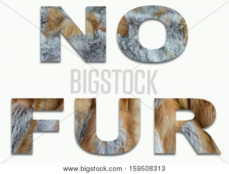 NO FUR red fox fur in a font trained