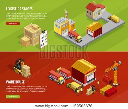 Logistics isometric horizontal banners with steps of delivery and transportation processes vector illustration