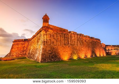 San Juan Puerto Rico. Fort San Felipe del Morro or Morro Castle at twilight.