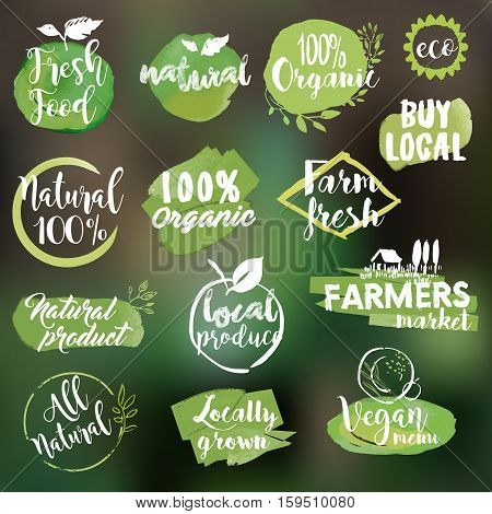 Set of watercolor hand drawn stickers and badges for organic food and drink, natural products, restaurant, healthy food market and production, on the nature blurred background. Vector illustrations.