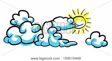 Stick Figure Background Cloud Formation With Sun