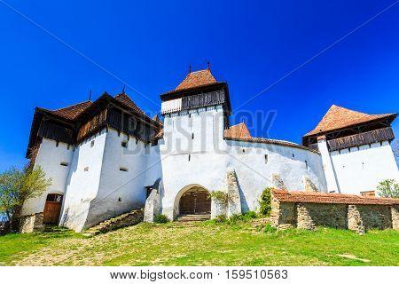 Viscri Brasov. Fortified church in Transylvania Romania.