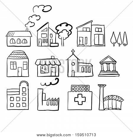 Various House Types, Fast Vector Sketch