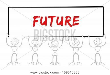 Stickman Holding Sign With Inscription Future