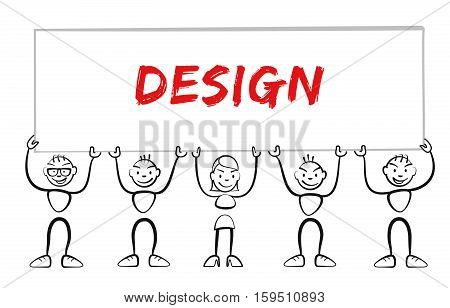 Stickman Holding Sign With Inscription Design