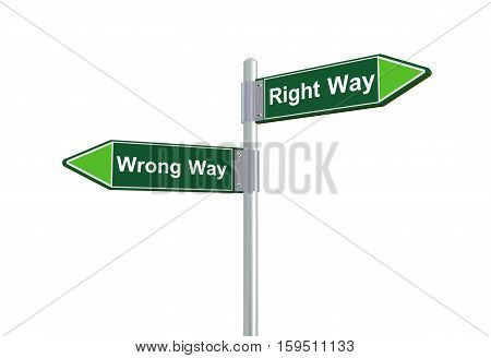 3D Right And Wrong Road Signpost