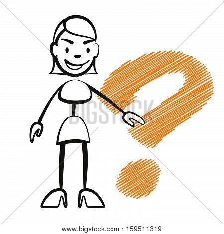 Stick Figure Woman With Question Mark