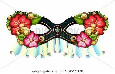 Vector Ornate Mardi Gras Carnival Mask with Decorative Flowers. La Calavera Catrina Mask Mexican Day of the Dead Object for Greeting Cards Isolated on White Background. Halloween Costume