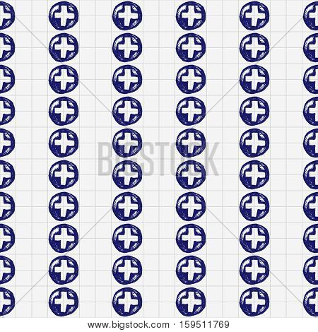 Healthcare and medicine. Vector doodle seamless pattern with crosses. Medical hand drawn icons illustration.