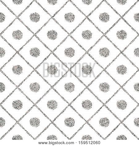 Silver seamless pattern of diagonal lines and circle, grunge silvery background of stripes, points, cage, hand painted vector for invitation, card, wedding, holiday, web, party, paper, wrapping