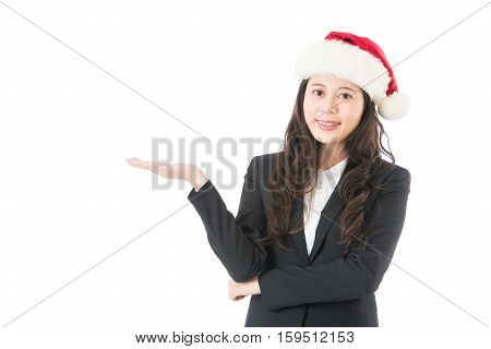 Santa Woman Presenting Product With Christmas Hat