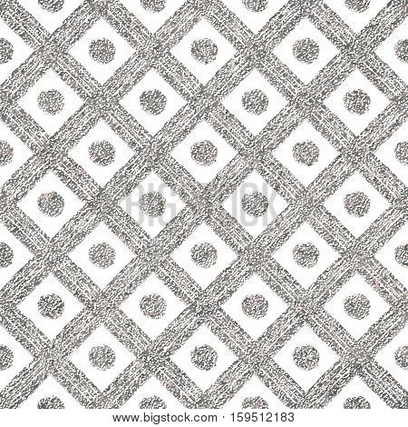 Silvery seamless pattern of diagonal lines and circle, grunge silver background of stripes, points, cage, hand painted vector for invitation, card, wedding, holiday, web, party