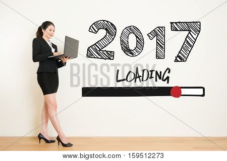 Business Woman Using Laptop Computer Loading Now 2017