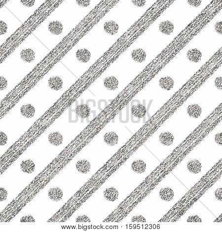Geometric seamless silver pattern of diagonal strokes and circle, abstract silvery background of argent lines and points, hand drawn vector for invitation, card, wedding