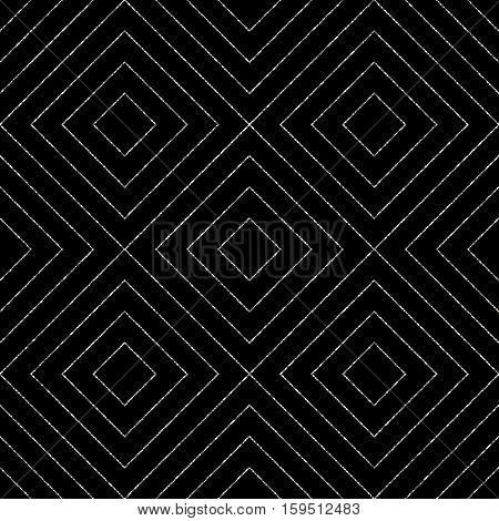 Geometric silver seamless pattern of diagonal lines or strokes, abstract seamless silvery background of rhombus, square, vector for paper, card, invitation, wrapping, textile, web design