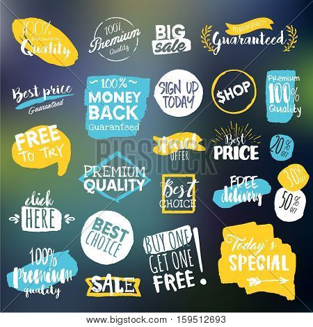 Set of eye-catching sale stickers. Vector illustrations for online shopping, product promotions, website and mobile website badges, ads, print material.