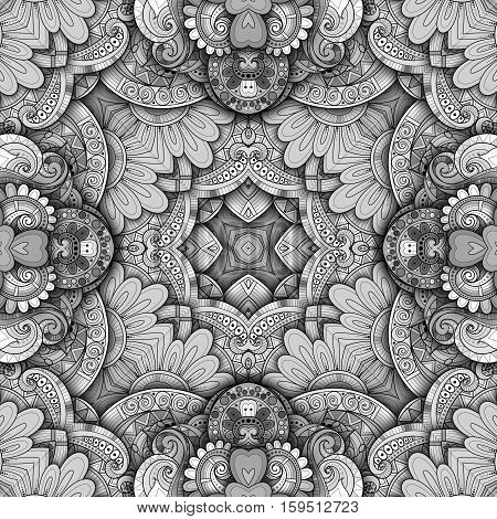 Vector Seamless Abstract Monochrome Tribal Pattern