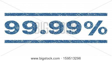 99.99 Percent watermark stamp. Text tag between horizontal parallel lines with grunge design style. Rubber seal cobalt blue stamp with unclean texture. Vector ink imprint on a white background.