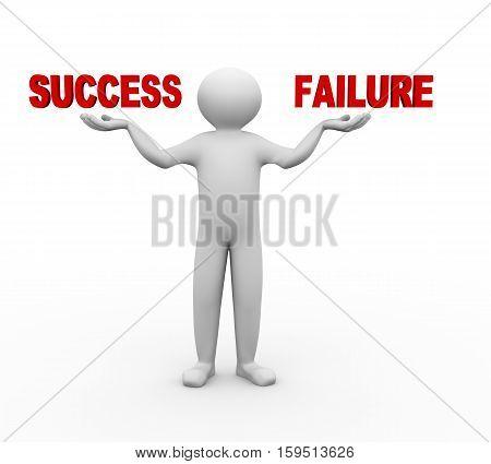 3D Man Balance Success And Failure