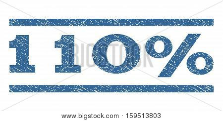 110 Percent watermark stamp. Text caption between horizontal parallel lines with grunge design style. Rubber seal cobalt blue stamp with unclean texture. Vector ink imprint on a white background.