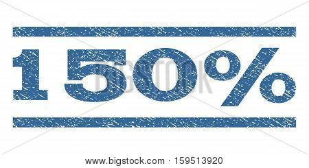 150 Percent watermark stamp. Text tag between horizontal parallel lines with grunge design style. Rubber seal cobalt blue stamp with scratched texture. Vector ink imprint on a white background.