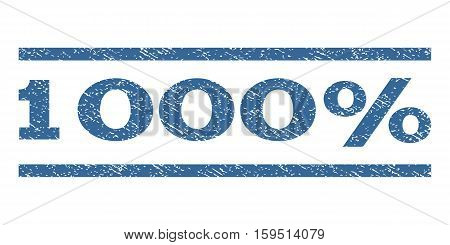 1000 Percent watermark stamp. Text caption between horizontal parallel lines with grunge design style. Rubber seal cobalt blue stamp with scratched texture. Vector ink imprint on a white background.