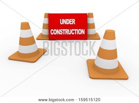 3D Traffic Cones And Under Construction