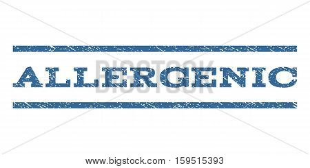 Allergenic watermark stamp. Text tag between horizontal parallel lines with grunge design style. Rubber seal cobalt blue stamp with dust texture. Vector ink imprint on a white background.