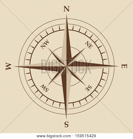 isolated brown nautical compass equipment in vector format