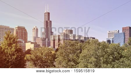 Retro old film stylized photo of Chicago city downtown skyline USA.