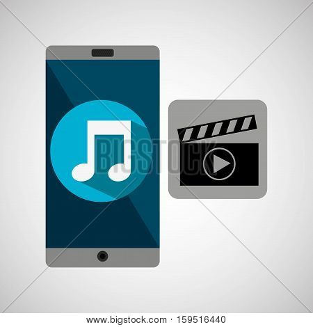 smartphone music online movie vector illustration eps 10