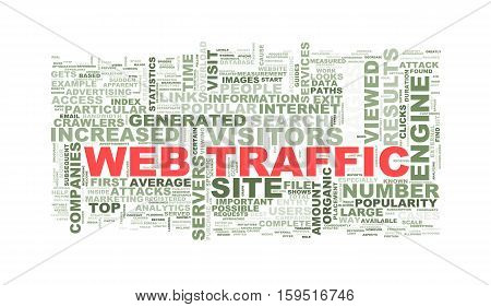Illustration of wordcloud word tags of concept of web traffic