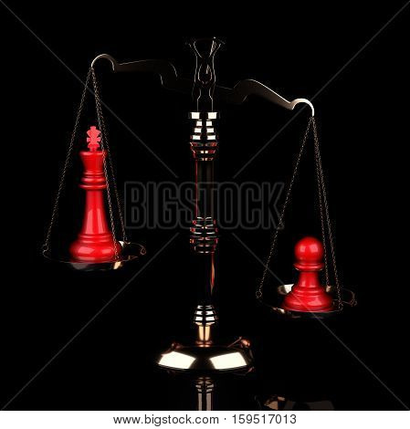 Value of Chessmen Scale Red King Vs Pawn on Black Background. 3d illustration