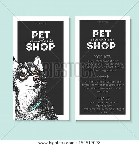 Vector set of pet shop flyers. Dog portrait isolated on black square text template. White informational list. Use for pet clinic store food market veterinary pharmacy advertising sale discount
