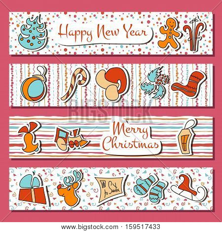 Christmas and New Year eve time set in stripes. Four horizontal stripes with deer bell toy gingerbread candy cane fir sock lantern. greetings postcard banner elements for prints decoration