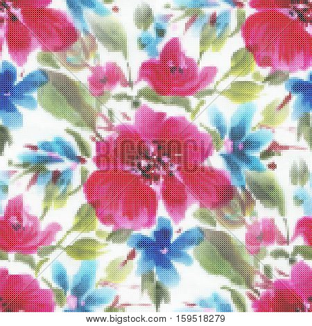 Seamless pattern - decorative embroidery with red flowers. Cross-stitch. Vector illustration
