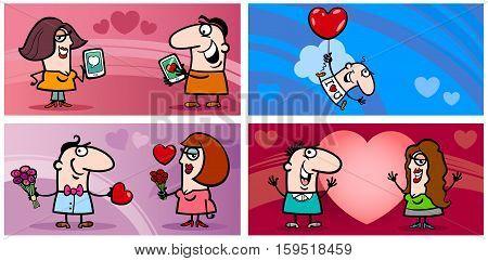 Valentines Cartoon Greeting Card Set